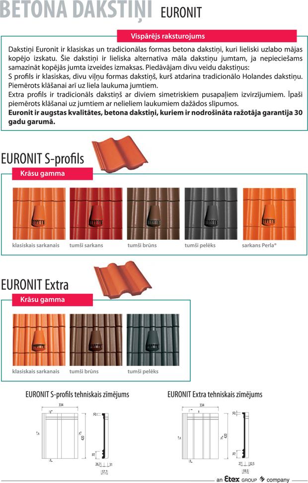 Euronit betona dakstiņi, jumta segumi, dakstiņu jumti, cementa dakstiņi, betona karnini